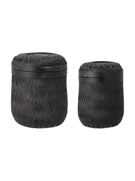Set de cestas de bambú Jun, 2uds., Bambú, Negro, Set de diferentes tamaños