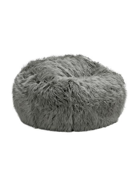Kunstfell-Sitzsack Flokati, Bezug: 95% Acryl, 5% Polyester 3, Grau, Ø 110 x H 70 cm