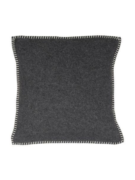 Weiche Fleece-Kissenhülle Sylt mit Steppnaht, 85% Baumwolle, 8% Viskose, 7% Polyacryl, Anthrazit, 50 x 50 cm