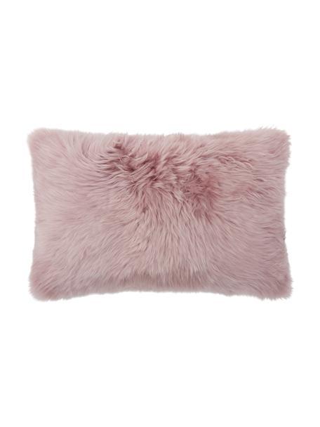 Federa arredo in pelle di pecora rosa Oslo, Retro: lino, Fronte: rosa Retro: grigio chiaro, Larg. 30 x Lung. 50 cm