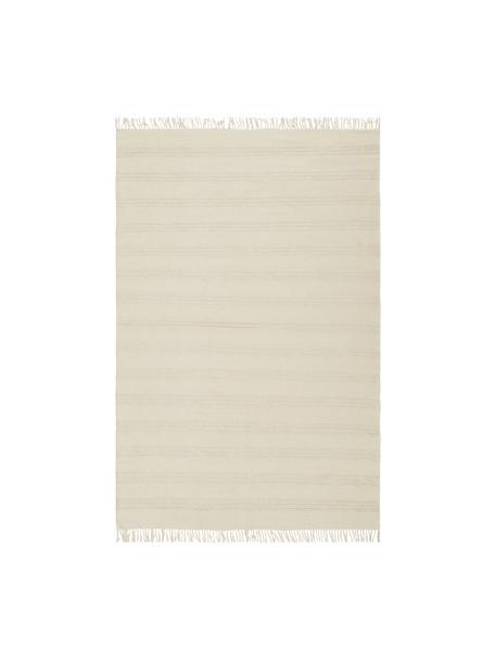 Tappeto in cotone con finitura a frange Tanya, 100% cotone, Bianco naturale, Larg. 200 x Lung. 300 cm (taglia L)