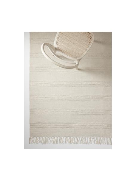 Baumwollteppich Tanya mit Ton-in-Ton-Webstreifenstruktur und Fransenabschluss, 100% Baumwolle, Naturweiß, B 200 x L 300 cm (Größe L)