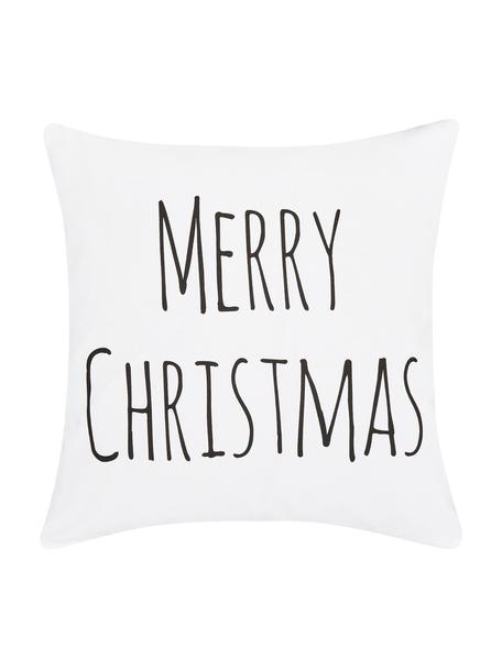 Federa arredo con scritta Merry Christmas, Cotone, Bianco, nero, Larg. 40 x Lung. 40 cm