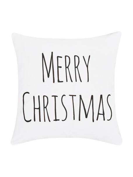 Kussenhoes Merry Christmas met opschrift in zwart/wit, Katoen, Wit, zwart, 40 x 40 cm