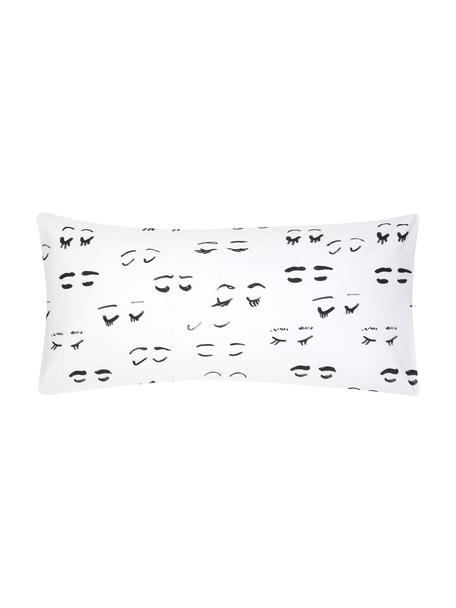 Designer Baumwollperkal-Kissenbezüge Lashes von Kera Till, 2 Stück, Webart: Perkal, Weiß, Schwarz, 40 x 80 cm