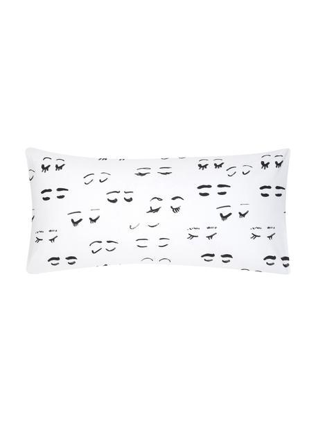 Poszewka na poduszkę z perkalu Lashes od Kery Till, 2 szt., Biały, czarny, S 40 x D 80 cm