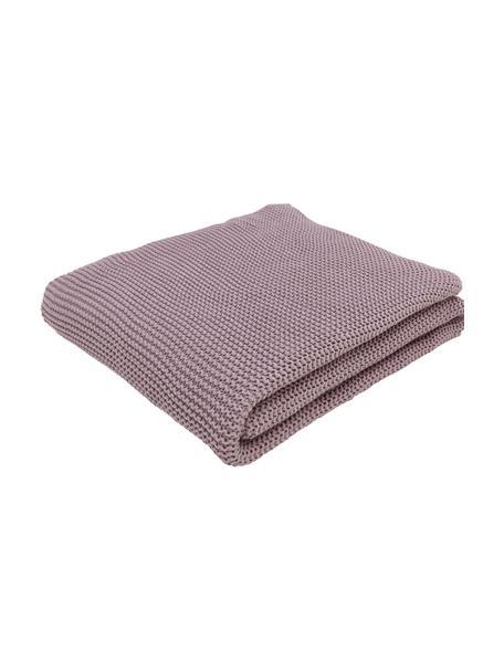 Plaid a maglia in cotone biologico viola Adalyn, 100% cotone biologico, certificato GOTS, Viola, Larg. 150 x Lung. 200 cm