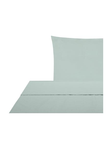 Set lenzuola in cotone percalle verde salvia Elsie, Verde salvia, 150 x 300 cm + 1 federa 50 x 80 cm