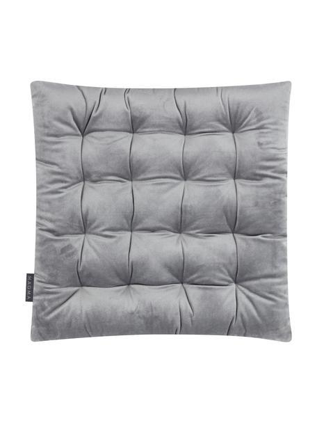Dubbelzijdig stoelkussen Milana, fluweel/corduroy, Bovenzijde: polyester fluweel, Onderzijde: corduroy (90% polyester, , Grijs, 40 x 40 cm