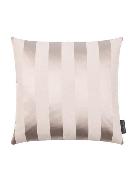 Kussenhoes Sue in beige met glanzende strepen, 70% katoen, 30% polyester, Beige, 40 x 40 cm