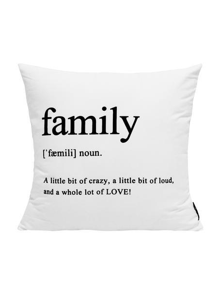 Kissenhülle Family in Schwarz/Weiß mit Schriftzug, 100% Polyester, Schwarz, Weiß, 45 x 45 cm