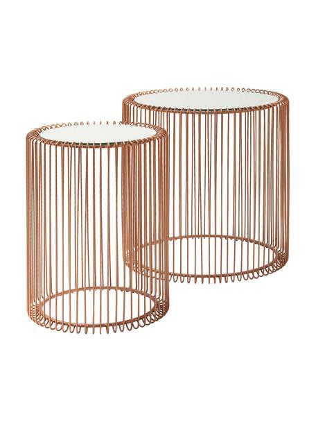 Metall-Beistelltisch 2er-Set Wire mit Glasplatte, Gestell: Metall, pulverbeschichtet, Tischplatte: Sicherheitsglas, foliert, Kupfer, Set mit verschiedenen Grössen