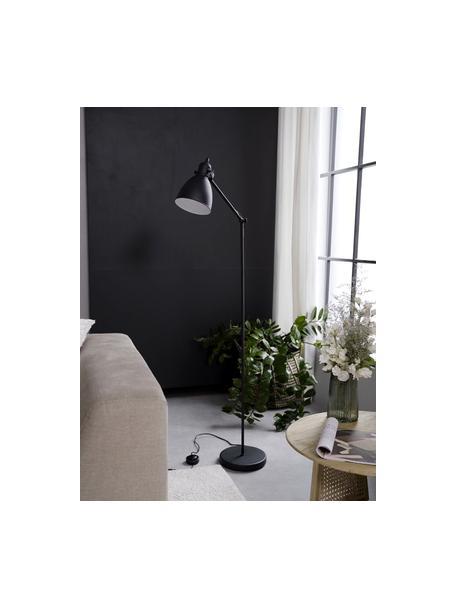 Lámpara de lectura de metal Ethan, estilo industrial, Pantalla: metal con pintura en polv, Cable: plástico, Negro, Ø 15 x Al 137 cm