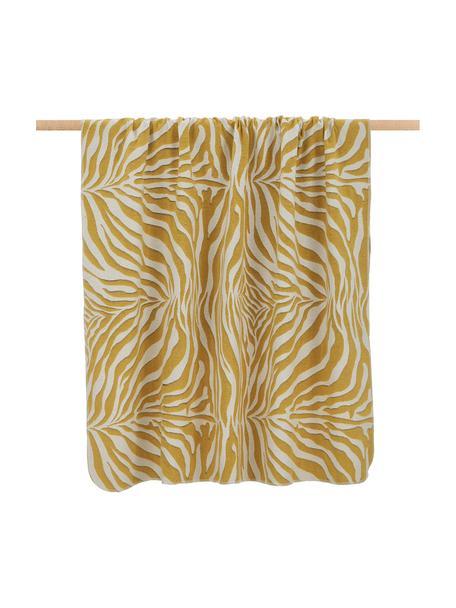 Plaid Sana met zebrapatroon, Weeftechniek: jacquard, Mosterdgeel, wit, 140 x 180 cm