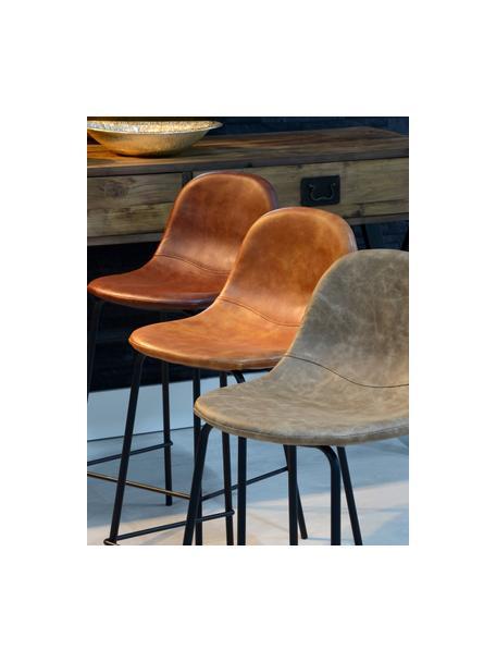 Sedia da bar in similpelle Adeline, Rivestimento: similpelle (poliuretano), Struttura: legno curvo, Gambe: metallo, Marrone caramello, nero, Larg. 42 x Alt. 87 cm