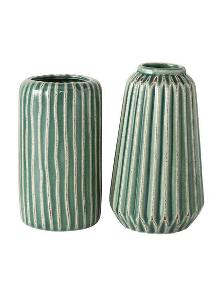 Set 2 vasi decorativi in gres Icona, Gres, Verde, marrone, beige, Set in varie misure