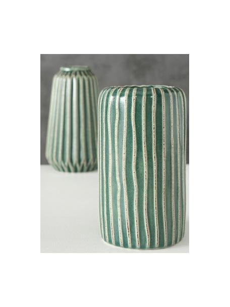 Komplet wazonów z kamionki Icona, 2 elem., Kamionka, Zielony, brązowy, beżowy, Komplet z różnymi rozmiarami