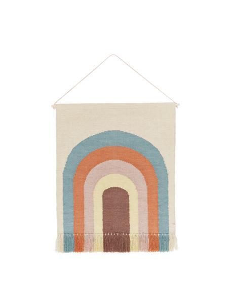 Dekoracja ścienna Rainbow, 80% wełna, 20% bawełna, Beżowy, niebieski, pomarańczowy, blady różowy, kremowy, brudny różowy, S 100 x W 115 cm