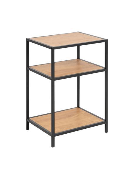 Bar cart Seaford van hout en metaal, Frame: gepoedercoat metaal, Eikenhoutkleurig, zwart, B 42 x D 35 cm
