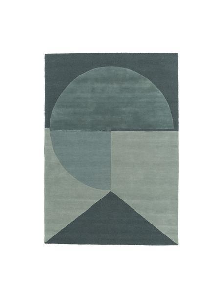 Handgetufteter Wollteppich Satomi, Flor: 95%Wolle, 5%Viskose, Mint, Graublau, B 140 x L 200 cm (Größe S)