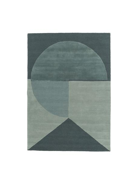 Tappeto in lana taftato a mano Satomi, Retro: cotone, Verde menta, blu grigio, Larg. 140 x Lung. 200 cm (taglia S)