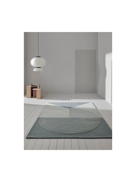Handgetufteter Wollteppich Satomi, Flor: 95%Wolle, 5%Viskose, Mint, Graublau, B 140 x L 200 cm (Grösse S)