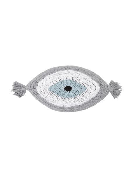 Handgeborduurd kussen Ajala met oogmotief, Grijs, wit, 30 x 45 cm