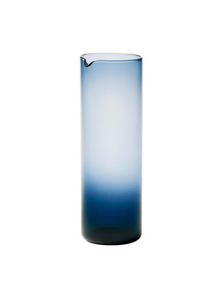 Mundgeblasene Glaskaraffe Bloom in Blau, 1 L, Glas, mundgeblasen, Blau, Ø 8 x H 24 cm
