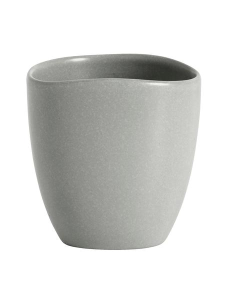 Steingut-Becher Refine matt Grau in organischer Form, 4 Stück, Steingut, Grau, Ø 9 x H 9 cm