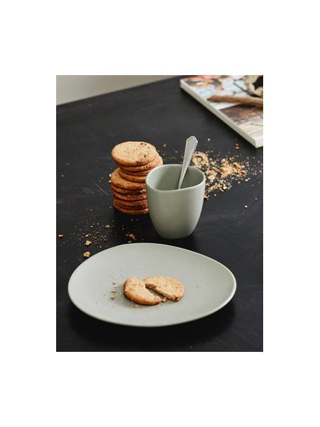 Keramische bekers Refine mat grijs in organische vorm, 4 stuks, Keramiek, Grijs, Ø 9 x H 9 cm