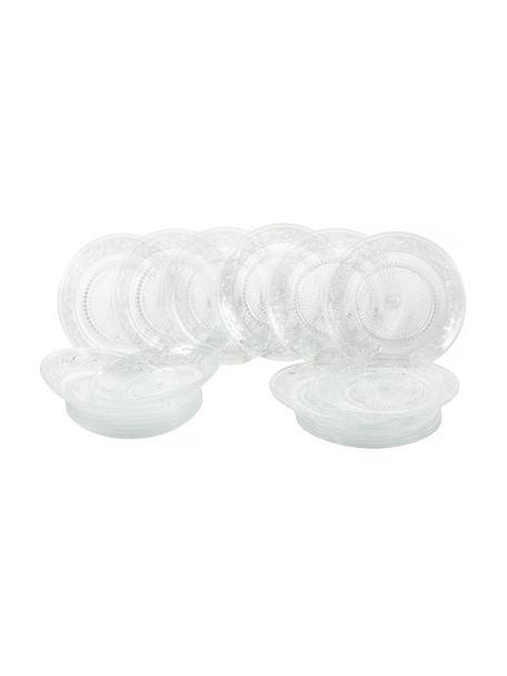 Glazen tfelservies Imperial met reliëf, 6 personen (18-delig), Glas, Transparant, Set met verschillende formaten