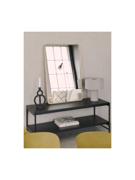Schwarzes Lowboard Mica mit Ablageflächen, Gestell: Metall, pulverbeschichtet, Regalplatten: Eichenholzfurnier, schwarz lackiertGestell: Schwarz, matt, 120 x 50 cm