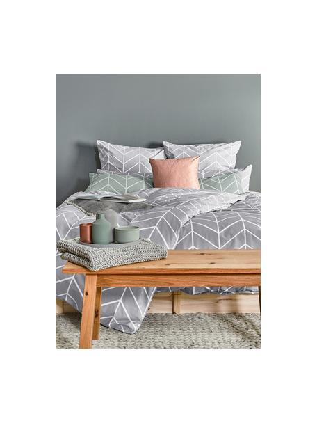 Poszewka na poduszkę z bawełny Mirja, 2 szt., Szary, kremowobiały, S 40 x D 80 cm