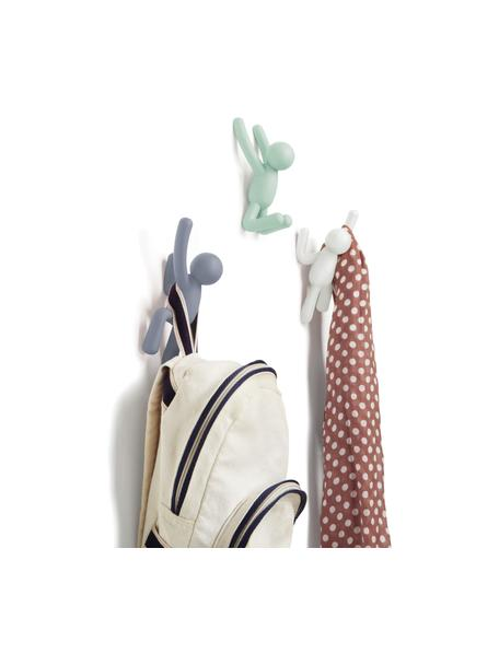 Komplet haków ściennych Buddy, 3 elem., Tworzywo sztuczne ABS, Niebieski, miętowy, biały, Komplet z różnymi rozmiarami