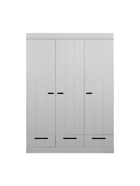 Armadio grigio chiaro con 3 ante Connect, Ripiani: truciolato, melaminico ri, Grigio, Larg. 140 x Alt. 195 cm