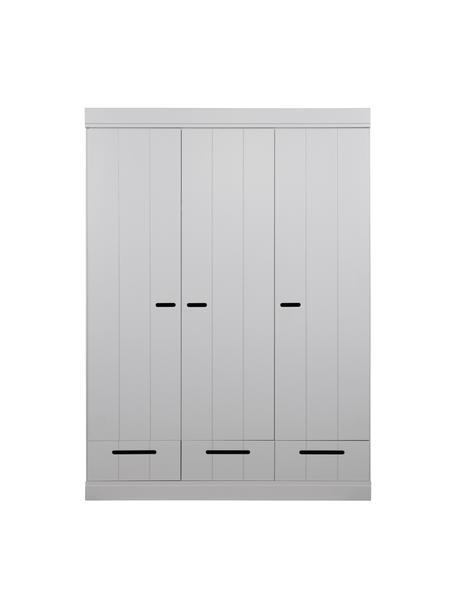 Kledingkast Connect met 3 deuren in lichtgrijs, Frame: grenenhout, gelakt, Lichtgrijs, 140 x 195 cm