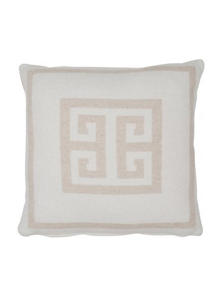 Kussenhoes Lugano in beige/wit met grafisch patroon, 100% polyester, Zandkleurig, gebroken wit, 45 x 45 cm