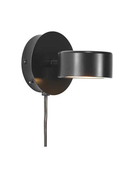 Dimmbare LED-Wandleuchte Clyde mit Stecker, Lampenschirm: Metall, beschichtet, Schwarz, 10 x 10 cm