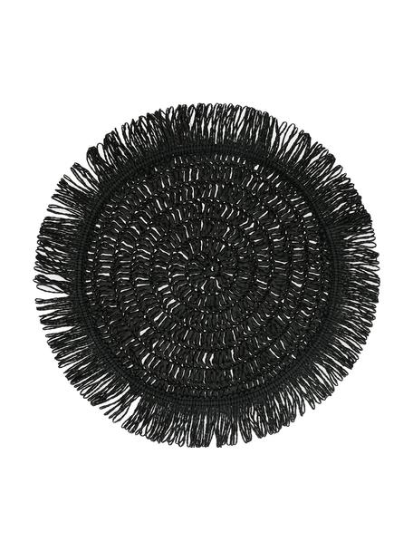 Mantel individual redondo con flecos Gyula, Fibras de papel, Negro, Ø 40 cm