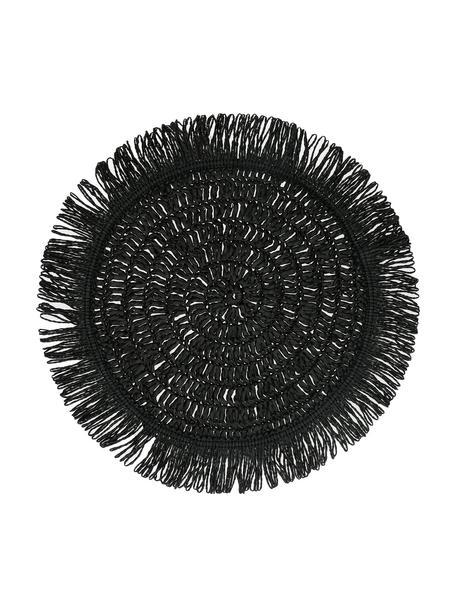 Schwarzes rundes Tischset Gyula mit Fransen aus Papierfasern, Papierfasern, Schwarz, Ø 40 cm