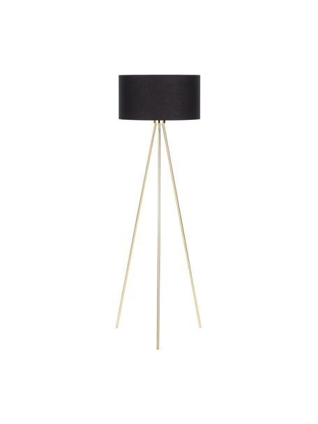 Tripod Stehlampe Cella mit Stoffschirm, Lampenschirm: Baumwollgemisch, Schwarz, Goldfarben, Ø 45 x H 147 cm