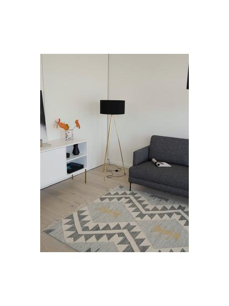 Driepoot vloerlamp Cella met stoffen kap, Lampenkap: katoenmix, Lampvoet: metaal, Zwart, goudkleurig, Ø 45 x H 147 cm