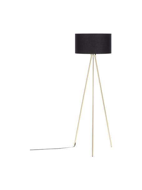 Lámpara de pie trípode Cella, Pantalla: mezcla de algodón, Cable: plástico, Negro, dorado, Ø 45 x Al 147 cm