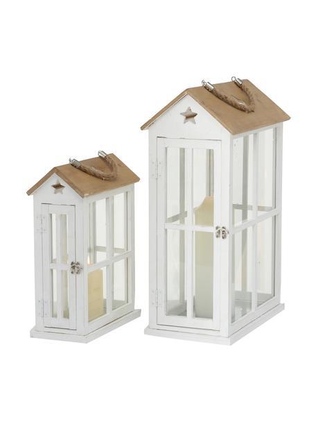 Set de farolillos Casa, 2pzas., Estructura: madera de pino recubierta, Asa: yute, Blanco, madera, Set de diferentes tamaños