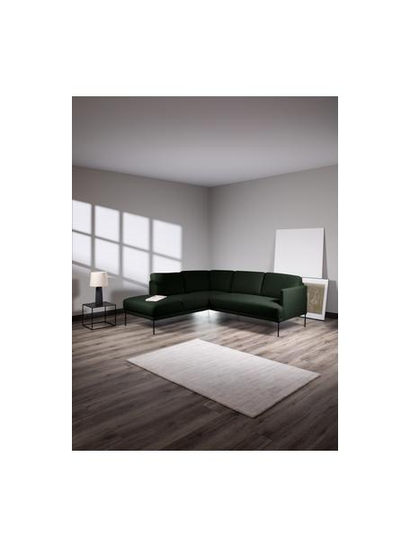 Sofa narożna z metalowymi nogami Fluente, Tapicerka: 100% poliester Dzięki tka, Nogi: metal malowany proszkowo, Ciemny zielony, S 221 x G 200 cm