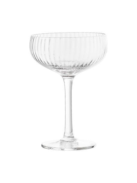Champagnerschalen Astrid mit Rillenstruktur, 6 Stück, Glas, Transparent, Ø 11 x H 16 cm