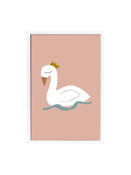 Ingelijste digitale print Swan, Afbeelding: digitale print op papier,, Lijst: gecoat MDF, Roze, wit, blauw, geel, 45 x 65 cm