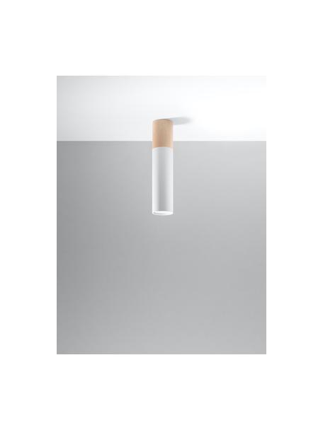 Faretto a soffitto con decoro in legno Paul, Paralume: acciaio rivestito, Bianco, marrone, Ø 8 x Alt. 30 cm