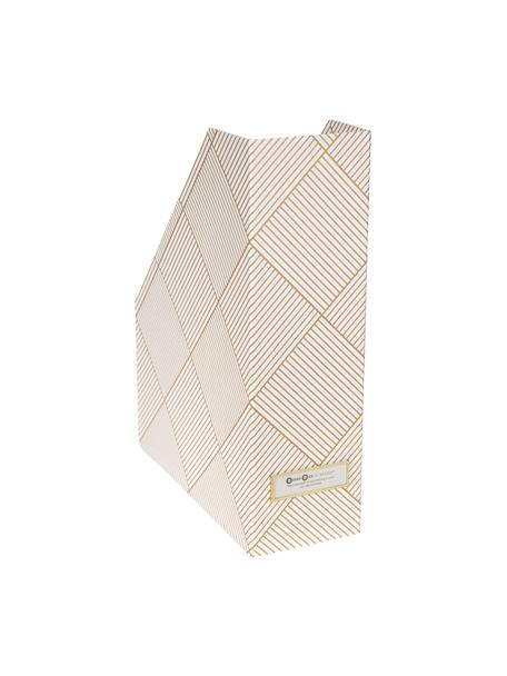 Organizador de documentos Viktoria, Organizador: cartón laminado, Dorado, blanco, An 10 x Al 32 cm