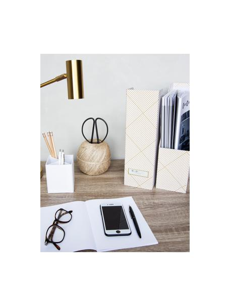 Tijdschriftencassette Viktoria, Organizer: stevig gelamineerd karton, Goudkleurig, wit, 10 x 32 cm